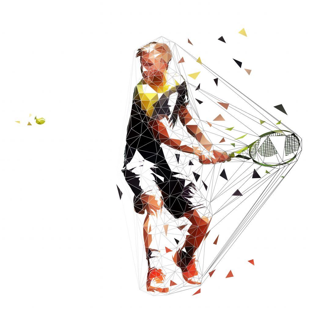 Tennis player preparing for two handed backhand topspin shot, isolated polygonal vector illustration