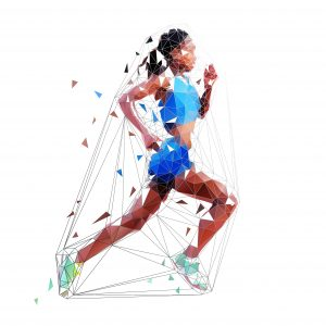 Running woman, low polygonal african american athlete. Isolated vector illustration, side view