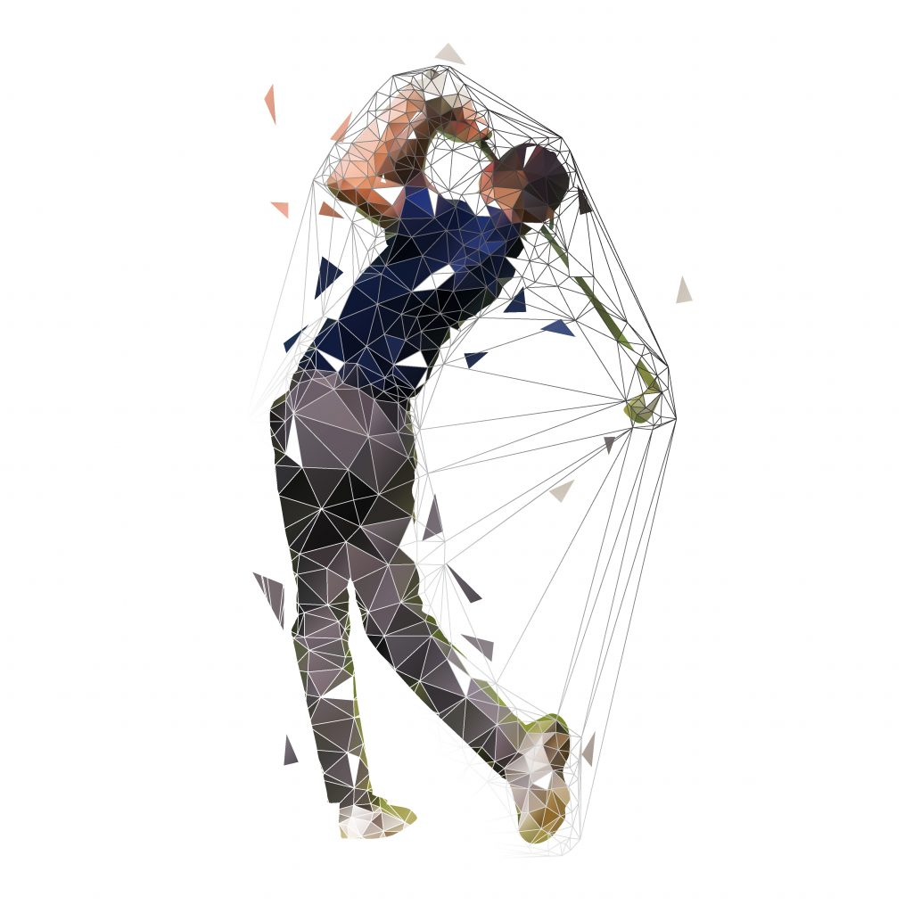 Golf player, low polygonal golfer vector isolated illustration. Golf swing