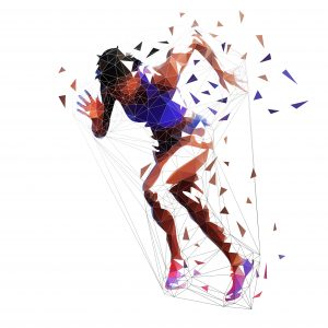 Running woman, low polygonal athlete. Isolated vector illustration, side view. Sprinting african american woman