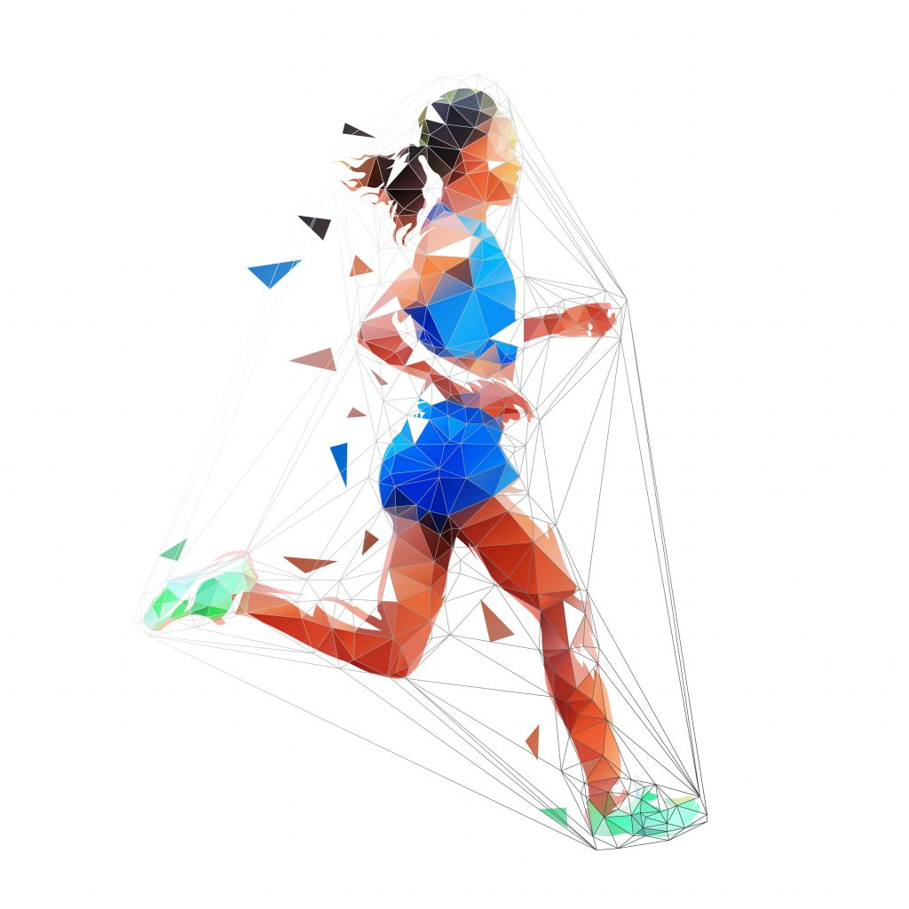 Running woman, isolated low poly vector illustration. Marathon run