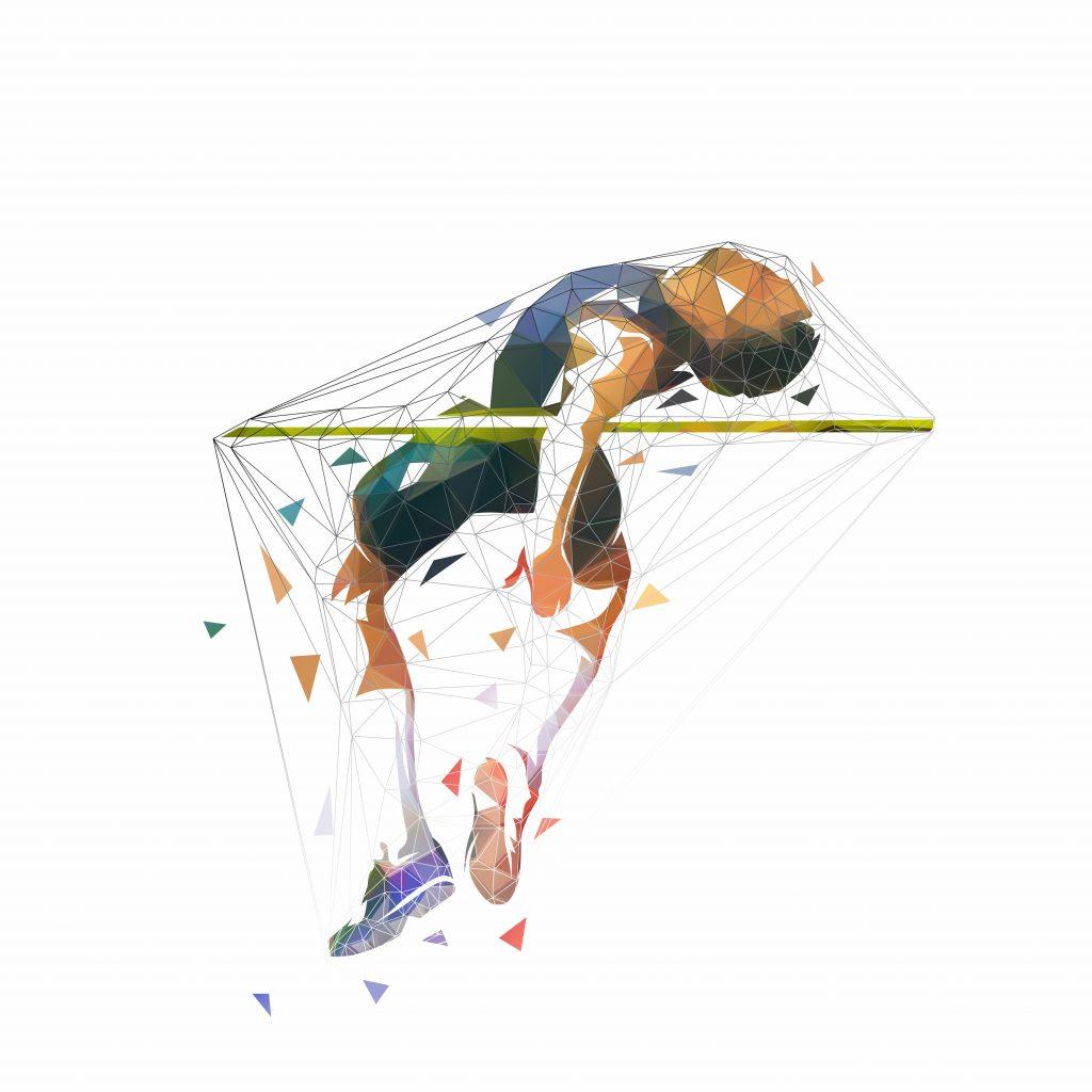 High jump athlete, low poly geometric vector illustration. Ahtletics, decathlon