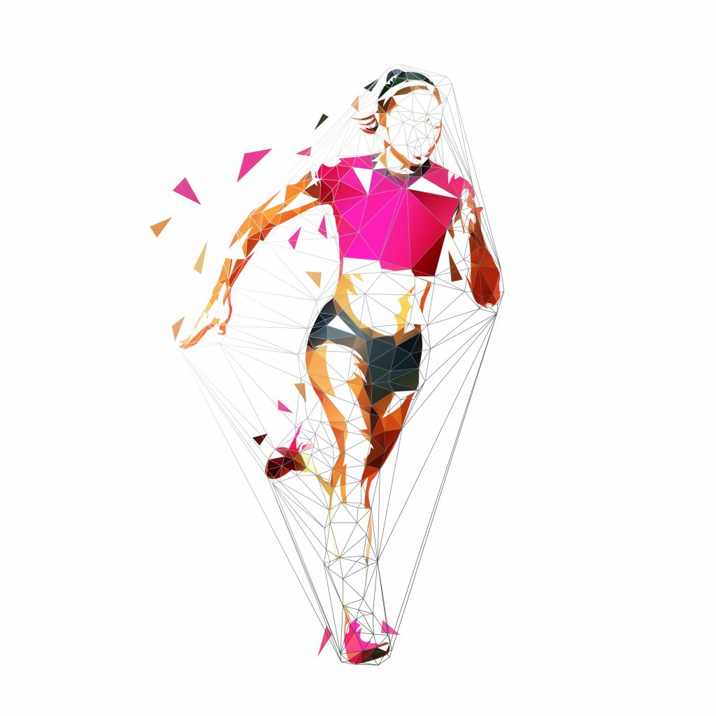 Running woman, low polygonal geometric isolated vector illustration. Run