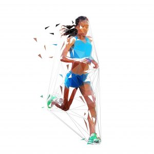 Running woman, low polygonal isolated vector illustration