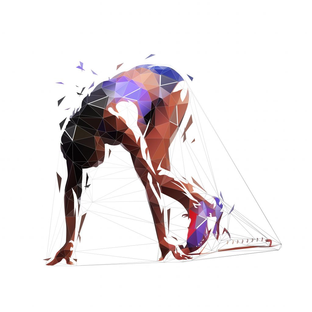 Sprinter woman kneeling in blocks. Low poly female runner waiting at start, isolated vector geometric illustration. Triangles. African american polygonal athlete